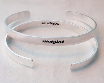 imagine no religion cuff bracelet