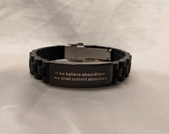 Vegan Silicone Atheist Secular Humanist Skeptic Bracelet with Voltaire