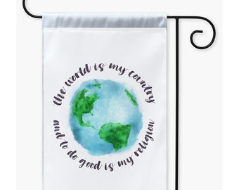 """Atheist Secular Yard Flag With Thomas Paine Quote, """"The World Is My Country And To Do Good Is My Religion"""""""