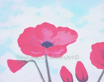 Large poppies under a bright sky - Print of original oil colour painting