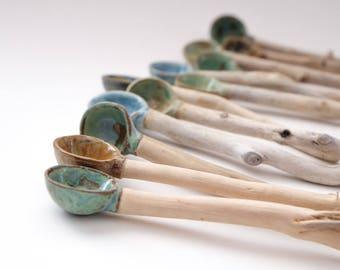 Handmade Ceramic / Pottery & Driftwood Spoons - Nature Inspired Home Decor/Wabi Sabi  Handmade in Canada/Utensils/Pottery Dinnerware