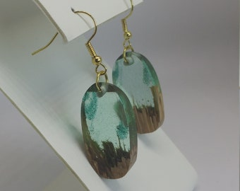 Light Blue Green Wood and Resin Earrings