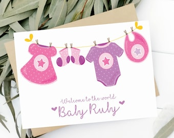 Personalised newborn card, newborn girl card, Welcome To The World, Congratulations New Baby,  newborn card, congrats baby name card,
