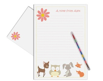 girls woodland letter writing kit kids thank you note writing paper gift personalised childrens stationery set note cards set of 15