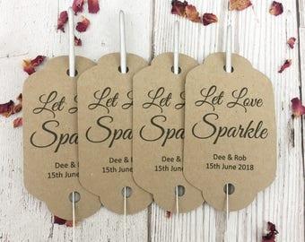 Sparkler gift tags, wedding sparklers, let love sparkle tags, wedding firework tags, tags for wedding sparklers, wedding favour. Sparklers