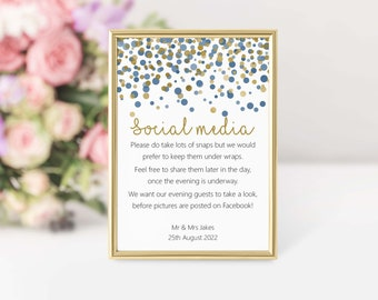 Personalised No Social Media Wedding Sign Navy Blue /& Gold Effect