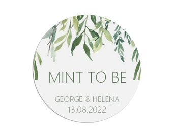 Save the Date Swirling Greenery Vine Leaves and mint background Clare