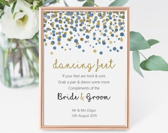 826af9bdf53bdd Flip flop basket dancing shoes slippers tired   sore feet Personalised navy  blue and gold effect confetti wedding table sign