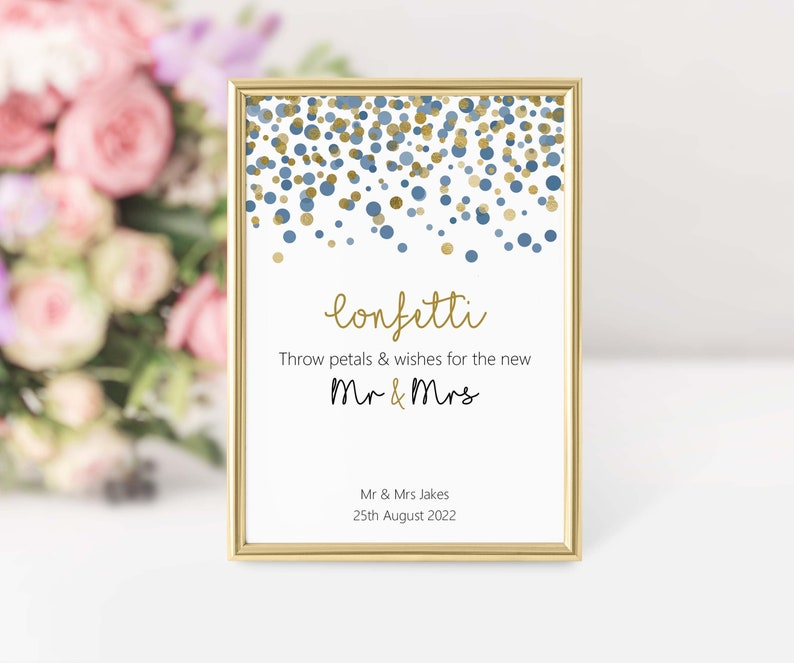 Throw petals & wishes Confetti basket wedding sign image 0