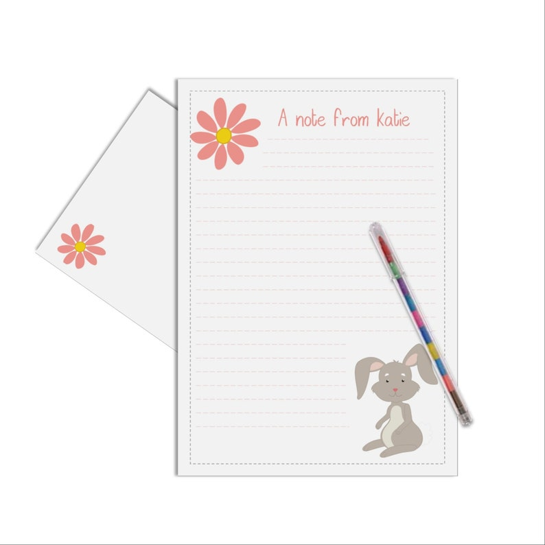 Rabbit Letter Writing Thank You Note Bunny Kids
