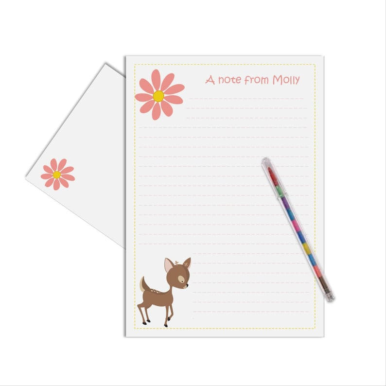 Girls Woodland Letter Writing Kit Kids Thank You Note Deer Paper Gift Personalised Childrens Stationery Set Card Of 15
