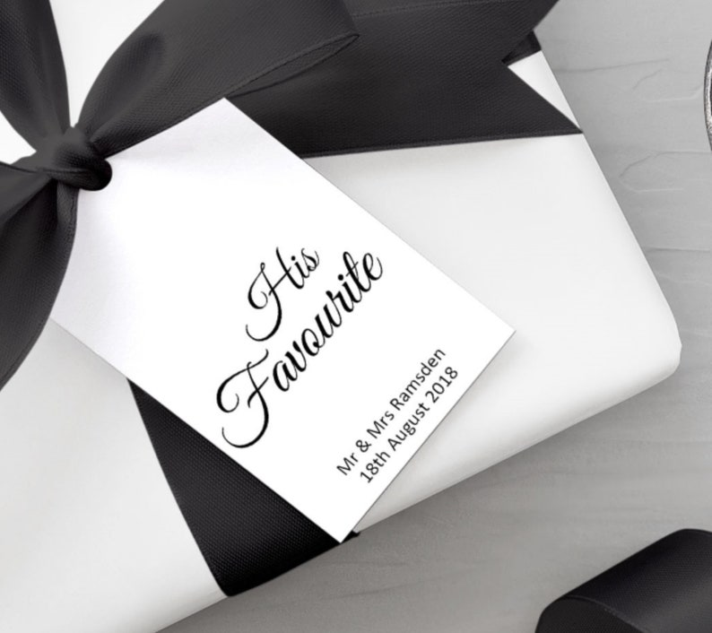 Wedding Gift Tags His favourite & Her favourite gift tags image 0