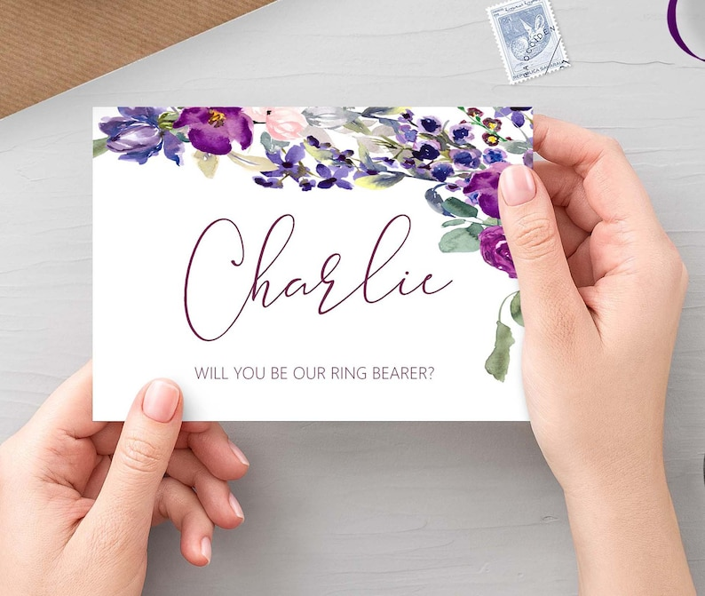 Will you be our ring bearer Purple Floral personalised bridal image 0