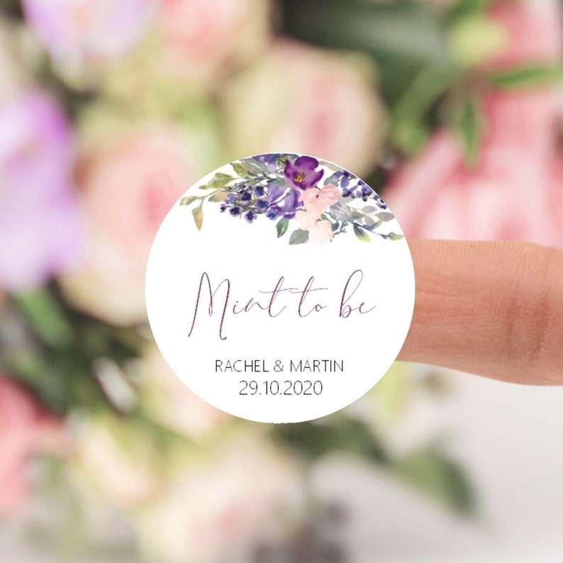 Wedding Favour Sticker Labels Mint to Be Personalised with image 0