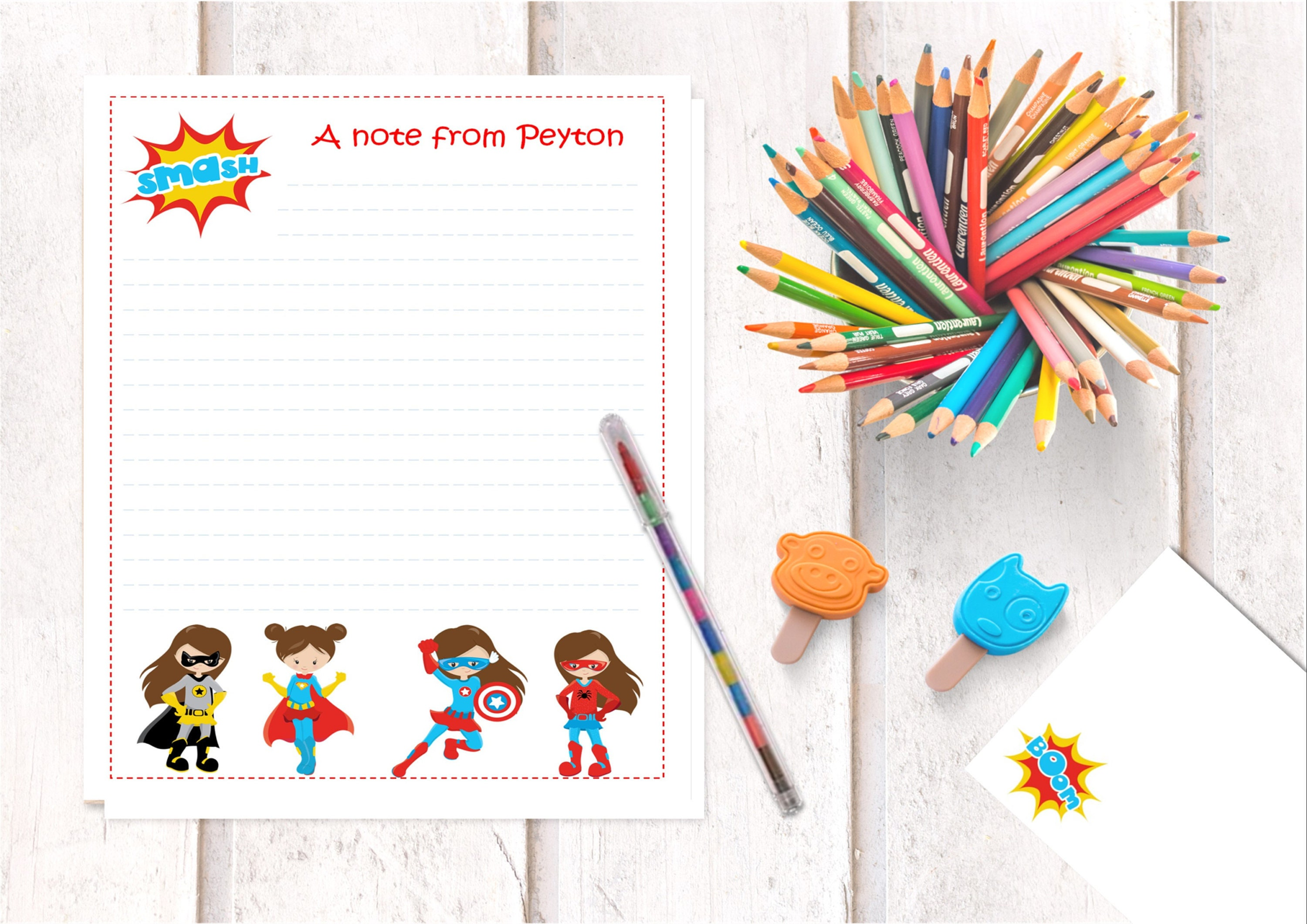 Girls Superhero Thank You Note Card Iron Boy Writing Gift Personalised Childrens Stationery Set Letter Cards Of 15