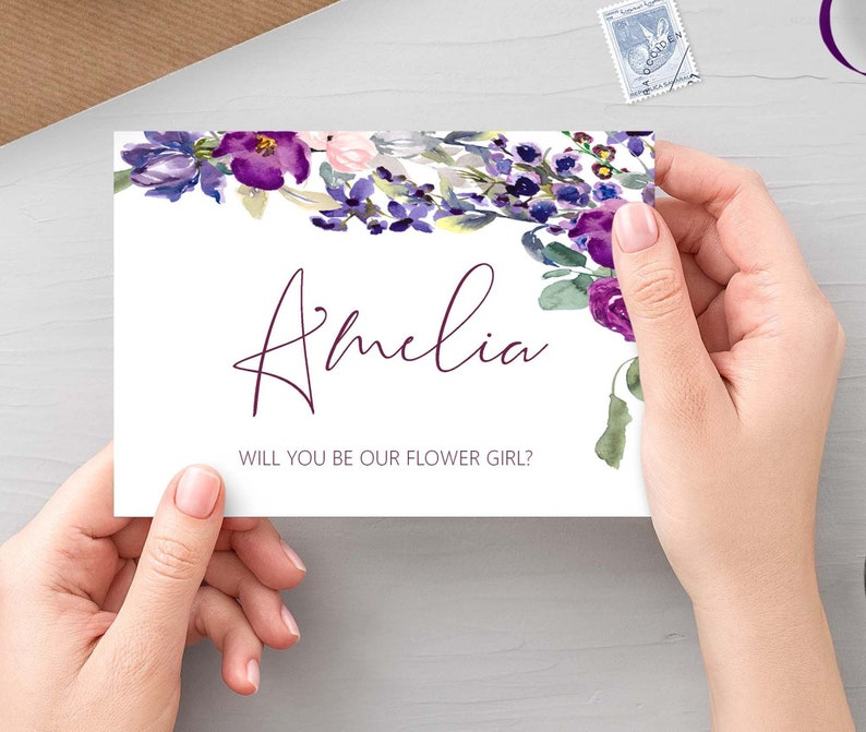 Will you be our flower girl Purple Floral personalised bridal image 0