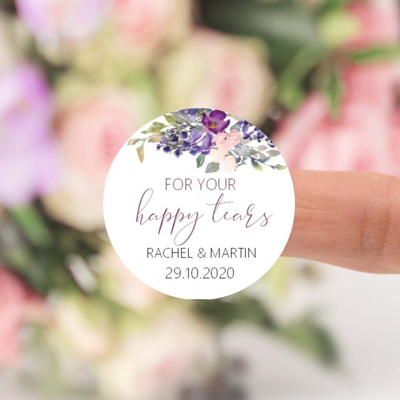 Wedding Favour Sticker Labels For your Happy Tears image 0