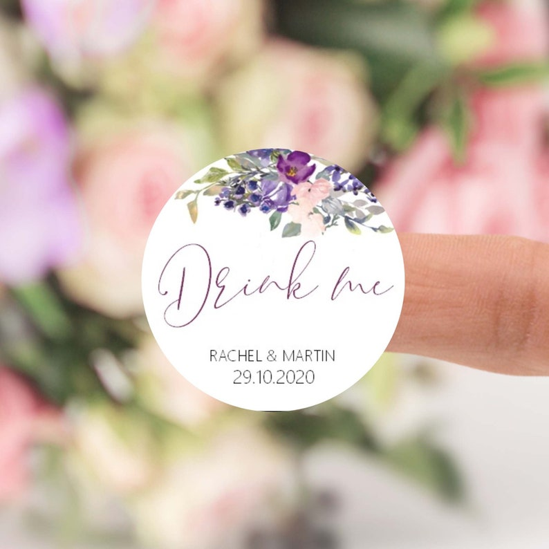 Wedding Favour Sticker Label Drink Me Personalised with image 0