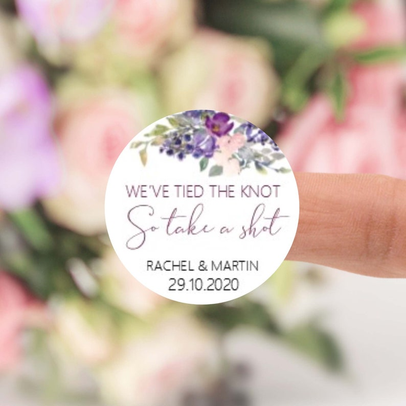 Wedding Favour Sticker Labels We've tied the knot so take image 0