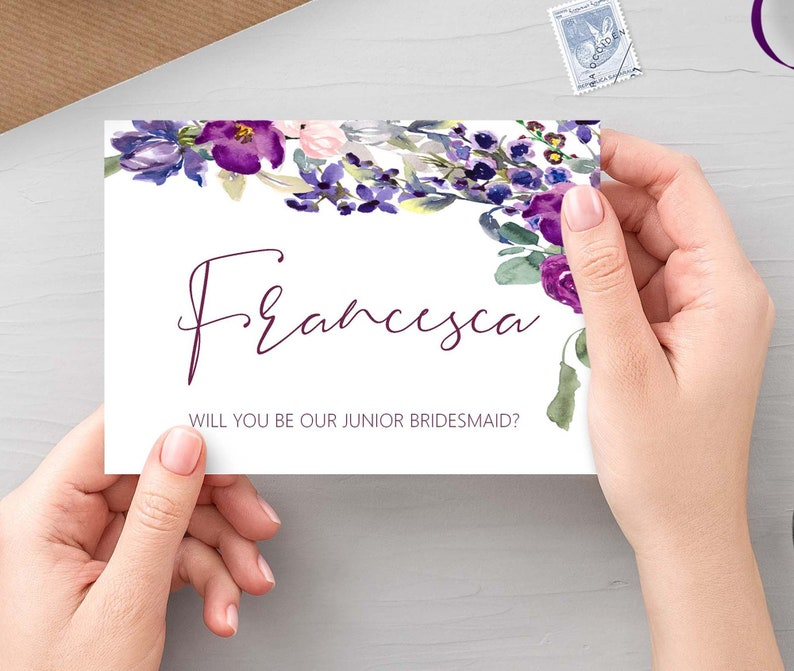 Will you be my junior bridesmaid  Purple Floral personalised image 0