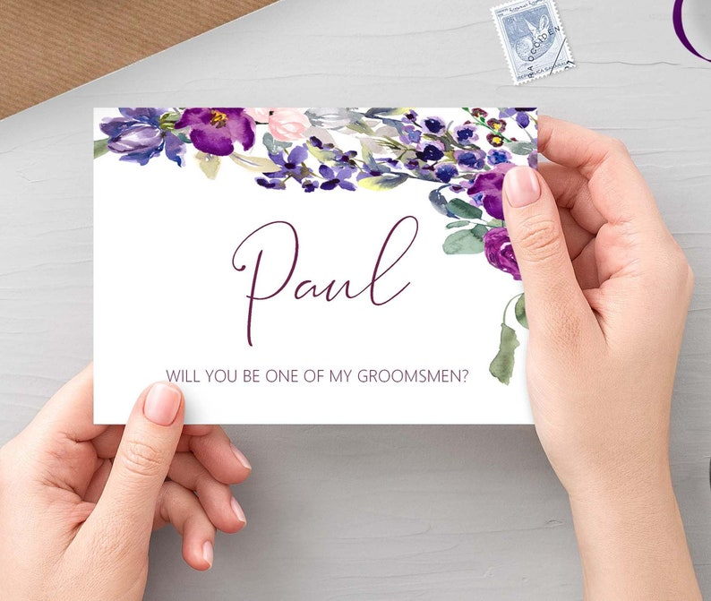 Will you be one of my groomsmen Purple Floral personalised image 0