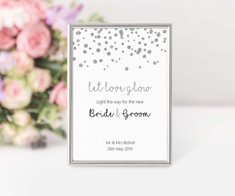 Let love glow wedding sparkler table sign glowstick send image 0