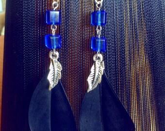 Black & Blue feather earrings