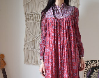 Indian 70's vintage red cotton midi dress
