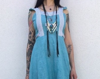 Vintage 70s green blue little summer dress