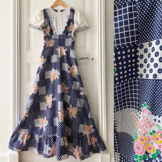 Vintage 70s patchwork printed maxi dress // 70s pa