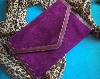 Purple suede leather 80's clutch