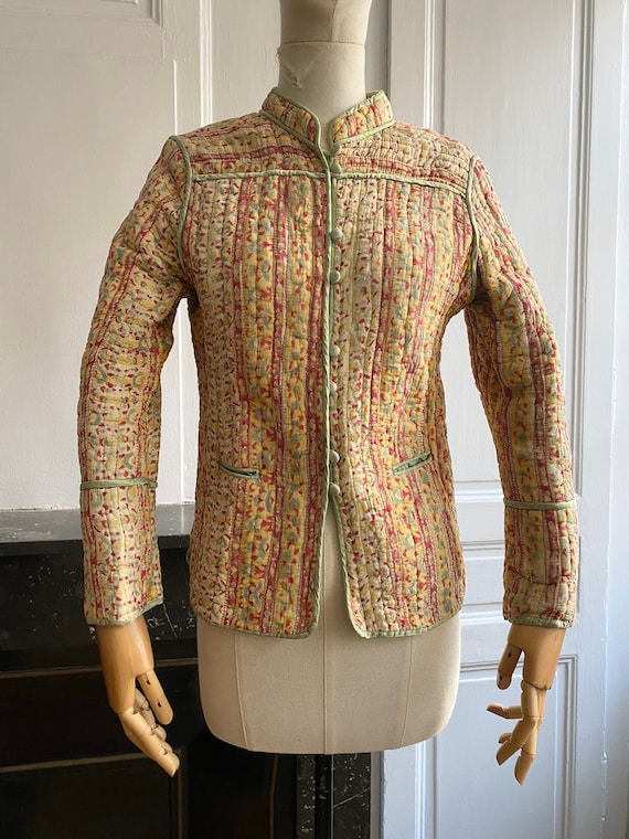 Vintage 70s indian gauze cotton quilted jacket //