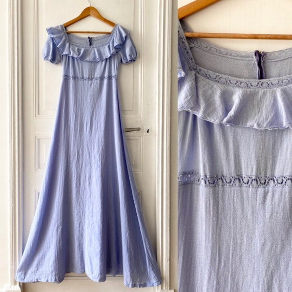 Vintage 70s cheesecloth lilac edwardian style maxi