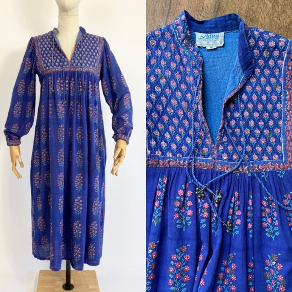 Vintage 70s ADINI cotton maxi dress // Handblock p