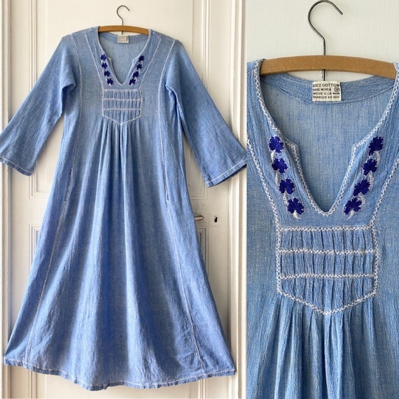 Vintage 70s indian cheesecloth cotton blue dress /