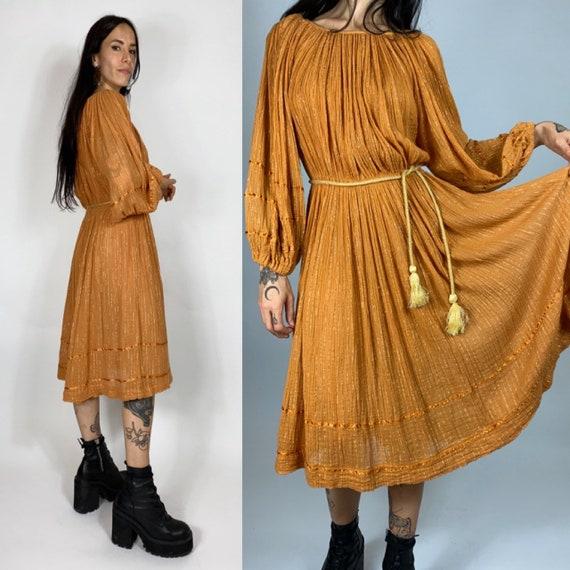 Vintage 70s greek gauze boheme dress // Vintage sh