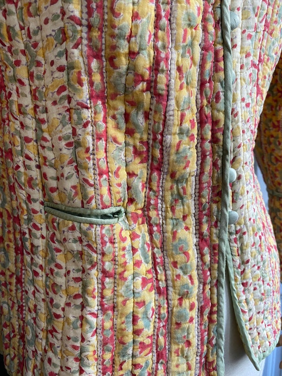 Vintage 70s indian gauze cotton quilted jacket //… - image 4