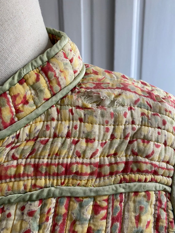 Vintage 70s indian gauze cotton quilted jacket //… - image 5