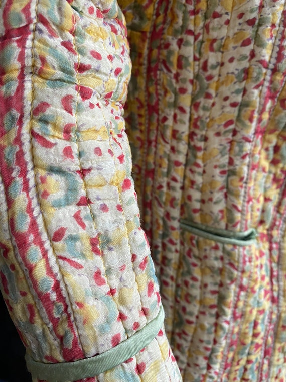 Vintage 70s indian gauze cotton quilted jacket //… - image 8