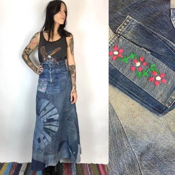 Vintage 70s patchwork hippie denim skirt // High w