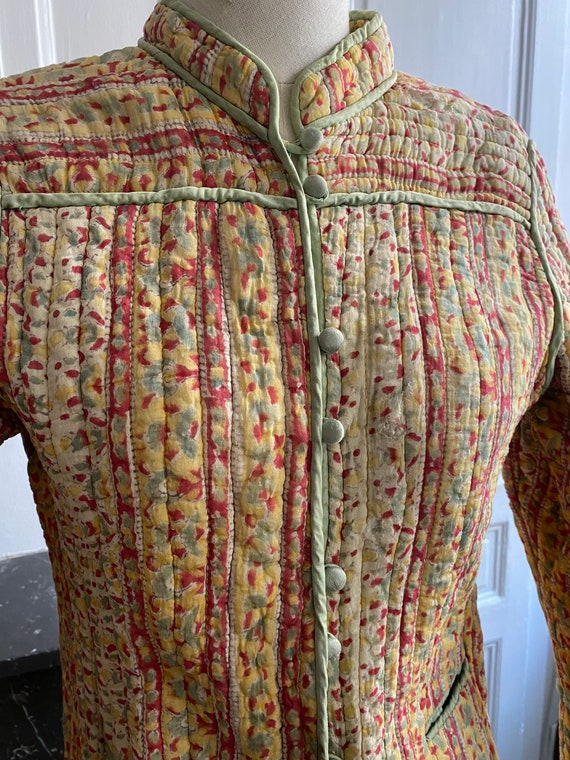 Vintage 70s indian gauze cotton quilted jacket //… - image 3