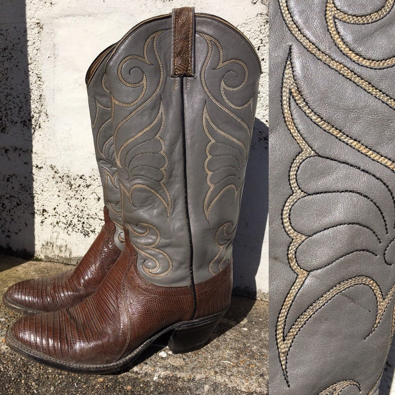 98fbb66c96c Vintage Dan Post cowgirl boots // two tone western boots // Size EU38 UK4,5  US7