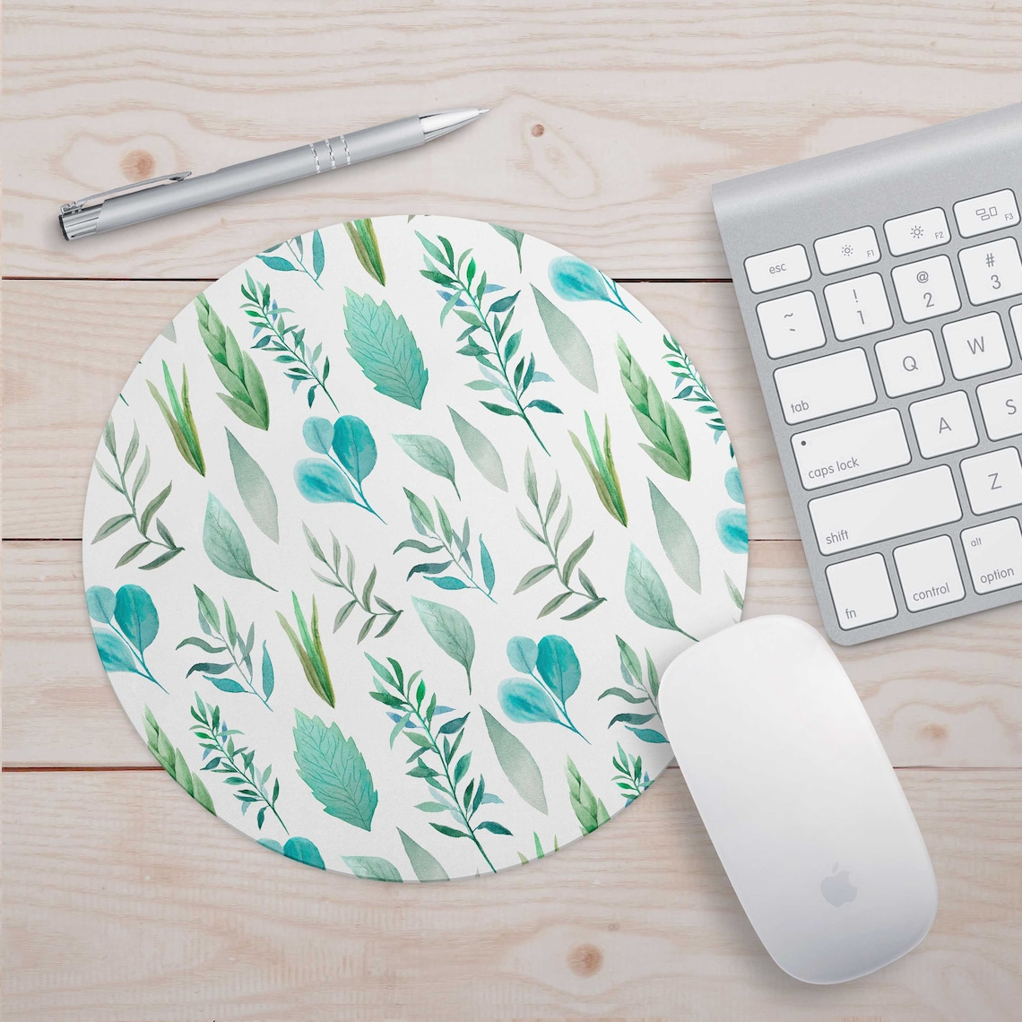 Green White Art Watercolor Flowers Mouse Pad