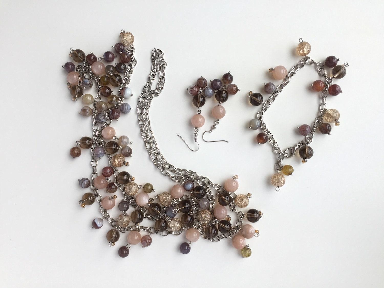 ... Idea For Women Jewelry Christmas gift handmade earring pendant bracelet. gallery photo ... & Brown pink beaded Jewelry set gift for Women Beaded Necklaces Gift ...