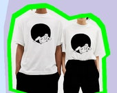 Organic, fairtrade, unisex, limited edition,  silkscreen printed, white t-shirt with illustration