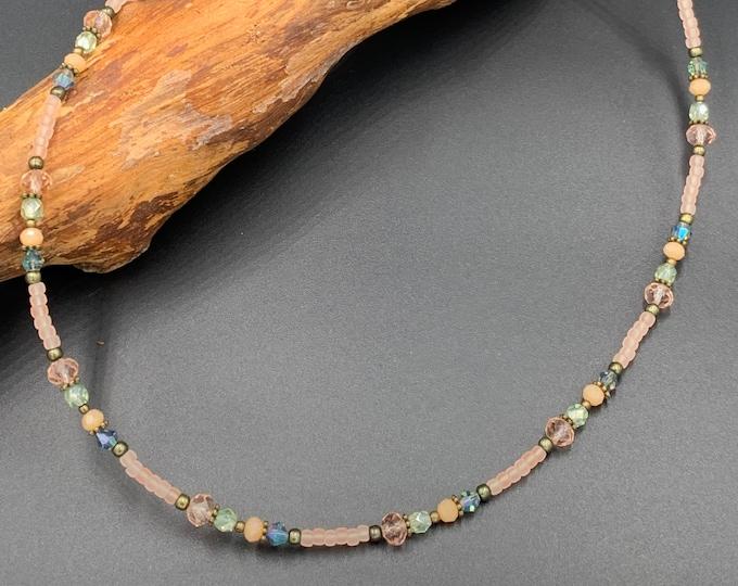 Short handmade beaded necklace.