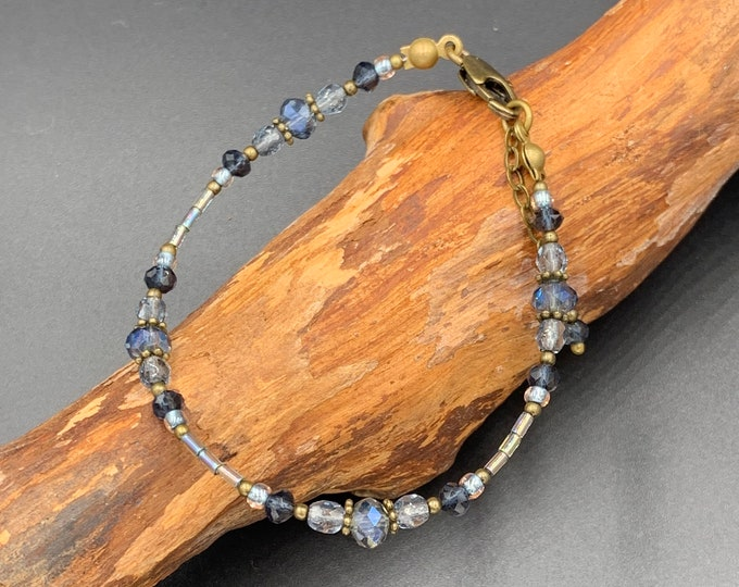 Handmade beaded bracelet with toho beads and Bohemian glass beads.