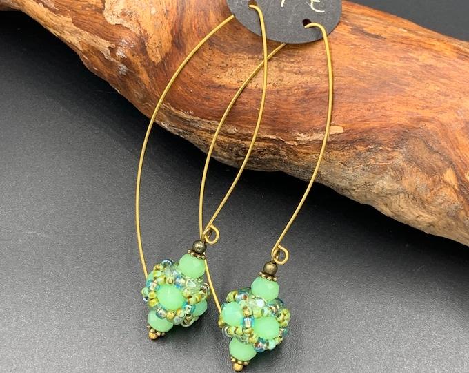 Handmade beaded earrings made of glass beads. Lead and nickel-free.