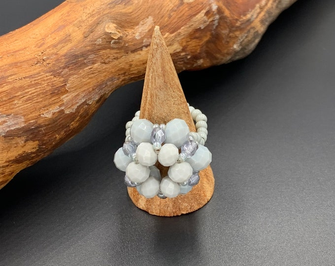 Handmade beaded ring made of toho beads and glass beads.
