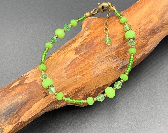 Handmade beaded bracelet with toho beads and Bohemian glass beads.